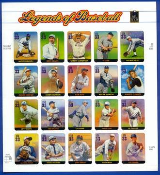 3408 Legends of Baseball Mint Sheet